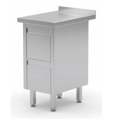 XXLselect Edelstahl Arbeitsschrank + 2 Schubladen + Aufkantung | 430x700x(h)850/900 mm
