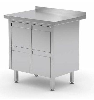 XXLselect Edelstahl Arbeitsschrank + 4 Schubladen + Aufkantung | 830x600x(h)850/900 mm
