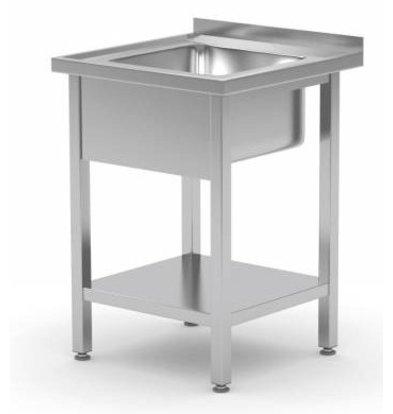 XXLselect Edelstahl Spültisch + Grundboden + Aufkantung |Becken 400x400x(h)250mm | 850(h)x600(t)mm | Erhältlich in 2 Größen