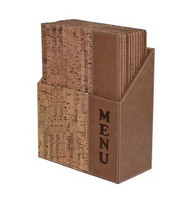 Securit Box mit 10 Speisekarten A4 Design | Kork | 370x290x210mm