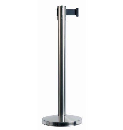 Securit Absperrpfoste Chrom 10 kg | Gurt Schwarz 190cm | Höhe 910mm