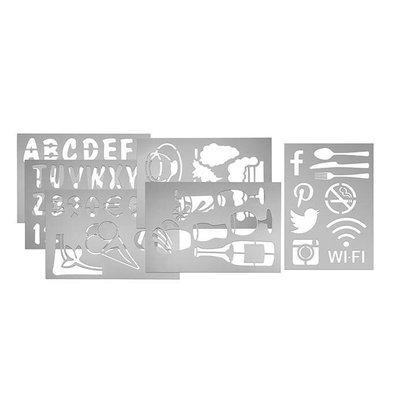 Securit Schablonen Set für Kreidetafel  | 5 Sjablonen | Buchstaben-Ziffern-Bildzeichen- Illustrationen