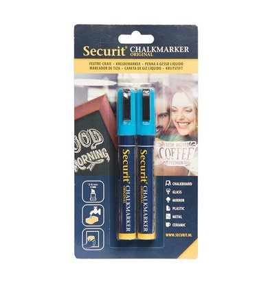 Securit Medium Kreidemarker Blau 2/6mm | 2 Stück