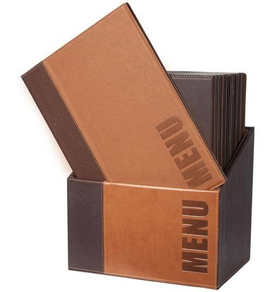 Securit Box mit 20 Speisekarten A4 Trendy | Hellbraun | 370x290x210mm