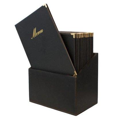 Securit Box mit 20 Speisekarten A4 Classic | Schwarz | 370x290x210mm