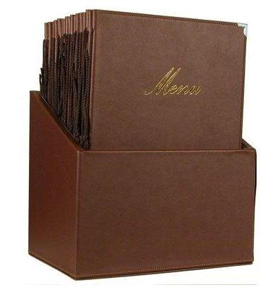 Securit Box mit 20 Speisekarten A4 Classic | Braun | 370x290x210mm