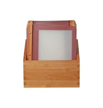 Securit Box mit 10 Speisekarten A4 Wood | Bordeaux |370x290x210mm
