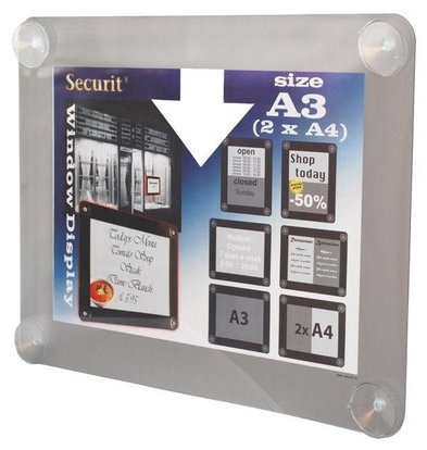 Securit Fenster Poster-Display Grau A3