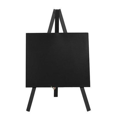 Securit Tisch Kreidetafel Mini Schwarz | Staffelei | Inkl. Kreidestift | 240x150mm
