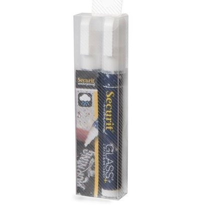 Securit Waterproof Kreidemarker 2/6mm | Weiß | 2 Stück