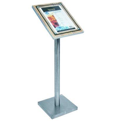 Securit Info-Ständer mit Glasplatte | Holz-Oakoptik | A4