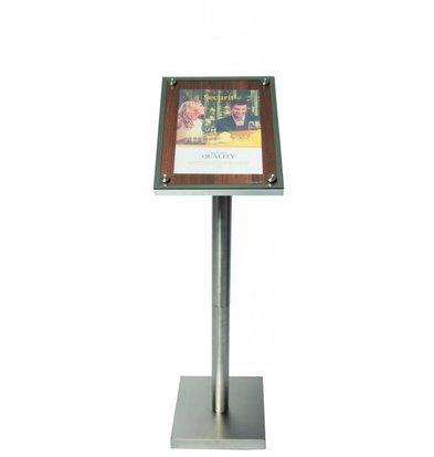 Securit Info-Ständer mit Glasplatte | Holz-Wallnußoptik | A4