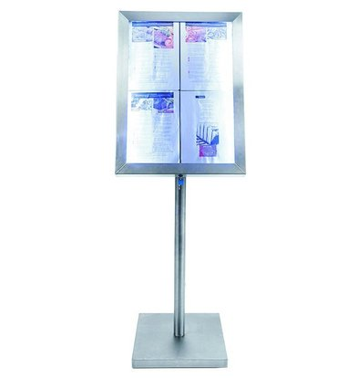 Securit LED Schaukasten Edelstahl | 4x A4