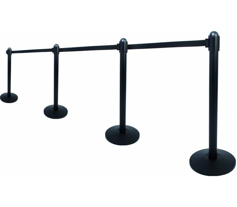 Securit Absperrpfoste Schwarz 13kg | Gurt Schwarz 210 cm | HEAVY DUTY | XXL ANGEBOT
