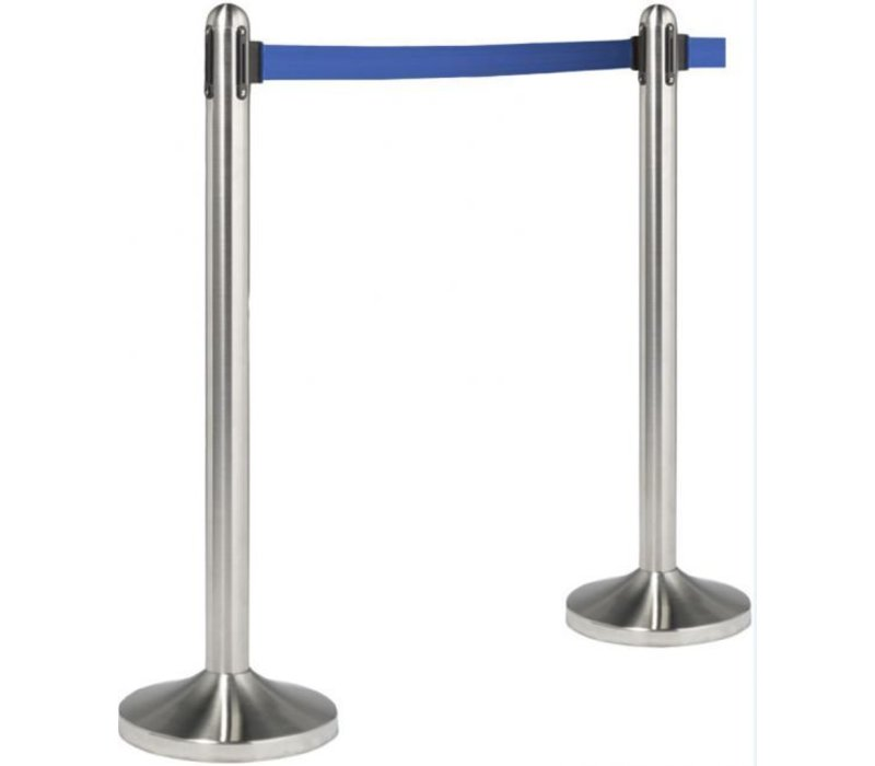 Securit Absperrpfoste Chrom 13kg | Gurt Blau 210 cm | HEAVY DUTY | XXL ANGEBOT