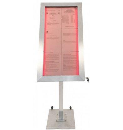 Securit LED Edelstahl Schaukasten Deluxe | 6x A4 | KOMPLETT SATZ