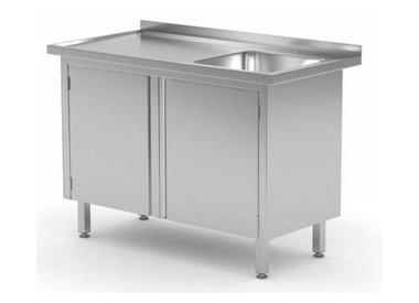 Edelstahl Arbeitsschrank + Waschbecken