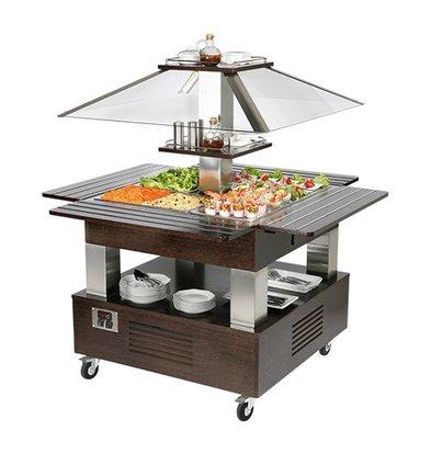 CaterCool Salat-Bar | 4xGN1/1 | Massivholz | 154(h)x144x144cm