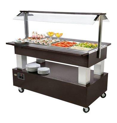 XXLselect Salat-Bar | 4xGN1/1 | Massivholz | 150(h)x86x141cm