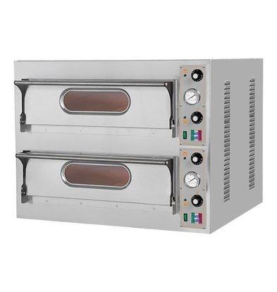 XXLselect Elektro-Pizzaofen | Edelstahl | 2 Kammer  66x66cm | 400V
