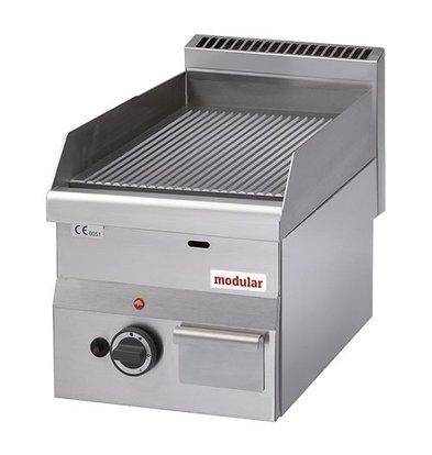 Modular Propangas-Grillplatte | Modular | gerillt | Guss-Rost | Piezo-Zündung | 28(h)x60x30cm