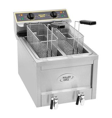 Roller Grill Elektro-Friteuse | Edelstahl | 8L+8L | mit Ablaufhahn | 45(h)x70x40cm