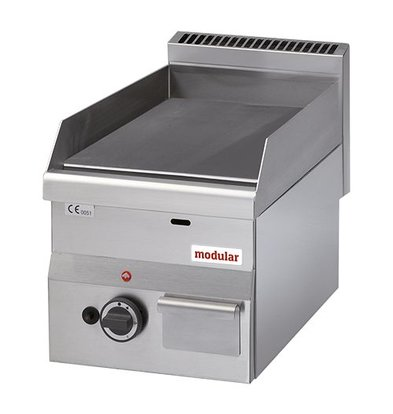 Modular Propangas-Grillplatte | glatt | Gasdoppelbrenner | Piezo-Zündung | 28(h)x60x30cm