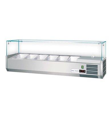 CaterCool Kühlvitrine | Edelstahl mit Sicherheitsglas | GN1/4x5-15cm