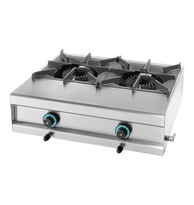Modular Gasherd | 2 Brenner | Edelstahlgehäuse | Tisch Modell | 7,5kW