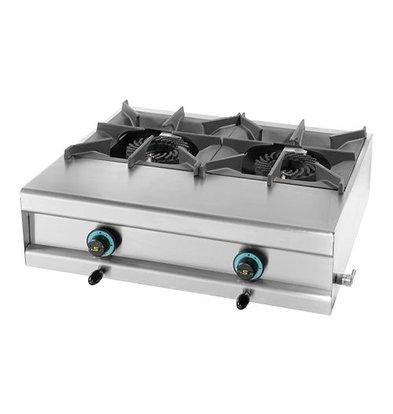 Modular Propan-Gasherd | 2 Brenner | Edelstahlgehäuse | Tisch Modell | 7,5kW