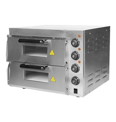 Caterchef Elektro-Pizzaofen | Edelstahl | 2 Kammer  40x40cm | 230V | 43,4(h)x58,5x56cm