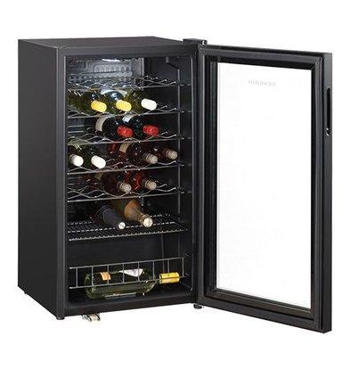 XXLselect Weinkühler | Schwarz | 33 Flaschen | Glastür | Innen-Beleuchtung