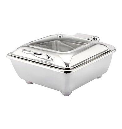 XXLselect Chafing Dish Viereckig | Behälter und Deckel | Edelstahl | 40x40cm
