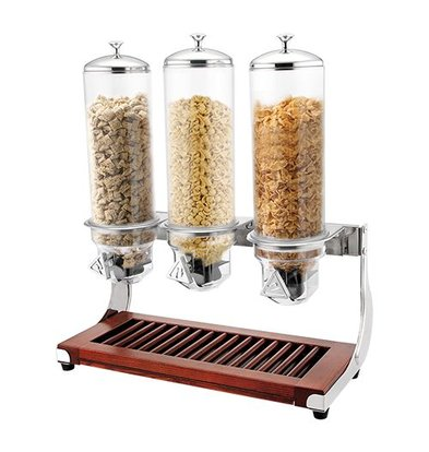 XXLselect Cerealienspender | Holz Stand | Edelstahl | 3x4L | Polykarbonat Behälter