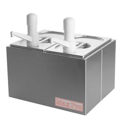 XXLselect Saucen Spender mit Deckel | Edelstahl | Kunststoff Spenders | 2x1/4GN-200mm
