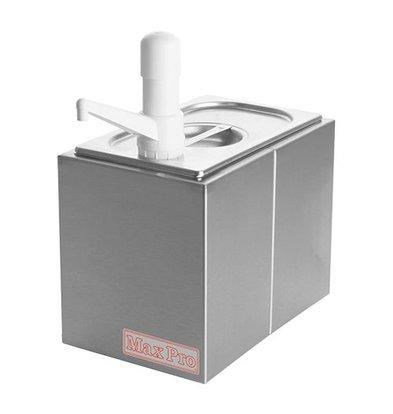 XXLselect Saucen Spender mit Deckel | Edelstahl | Kunststoff Spenders | 1x1/4GN-200mm