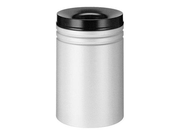 XXLselect Abfallbehälter mit schwarzem Löschring | Grau | 50L