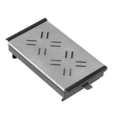 XXLselect Plattenwärmer mit Platte Aluminium | Schwarz | 2 Brenner