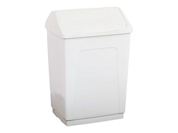 XXLselect Abfallbehälter | Kunststoff | Schwingdeckel | Weiß | 55L