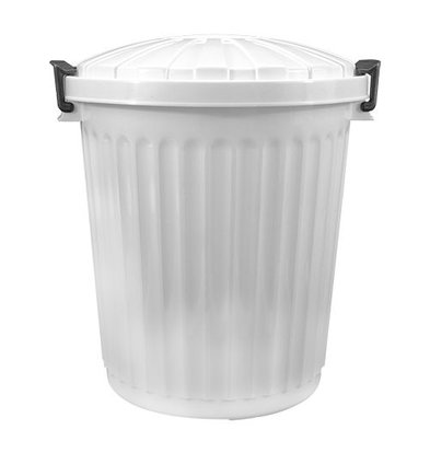 XXLselect Abfallbehälter mit Deckel | Kunststoff | Weiß | 43L