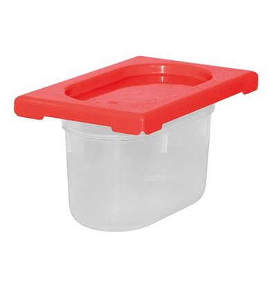 XXLselect Lebensmittelbehälter mit Deckel Rot | Polypropylen | 1/9GN | Erhältlich in 2 Tiefen