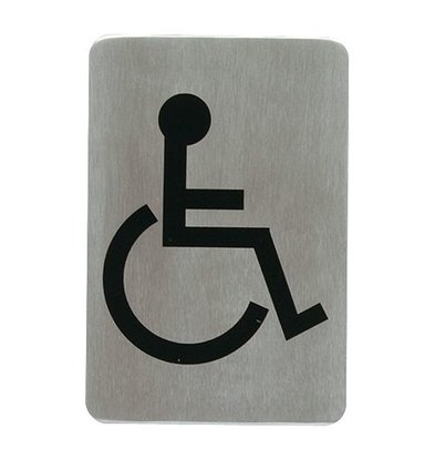 XXLselect Textschilder selbklebend Edelstahl | Rollstuhl