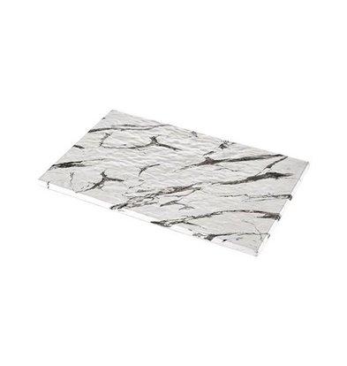 XXLselect Auslageplatte | Melamin | Weiß | Marmor-Look | GN1/1