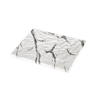 XXLselect Auslageplatte | Melamin | Weiß | Marmor-Look | GN1/2