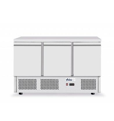 Hendi Kühltisch Edelstahl | 3 Türen | 1365x700x(h)880mm