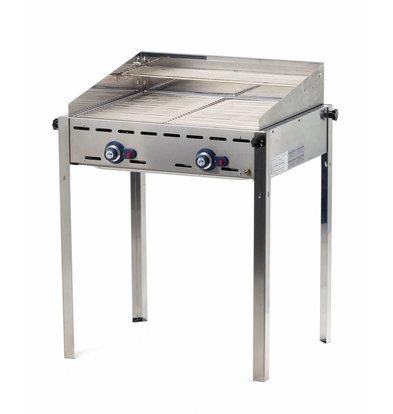 Hendi Green Fire Profi Grill | 2 Brenner | Emaillierte Grillplatte + Grillrost Gußeisen | 740x612x(h)825mm