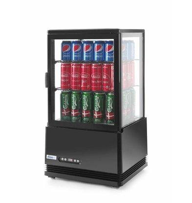 Hendi Aufsatzkühlvitrine Schwarz | 58 Liter | Zwangsluftkühlung | 452x406x(h)816mm