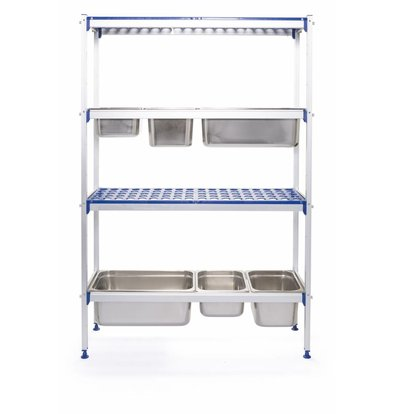 Hendi Regalsystem Aluminium für GN Behälter | Regalböden PP | 1120x355x(h)1685mm