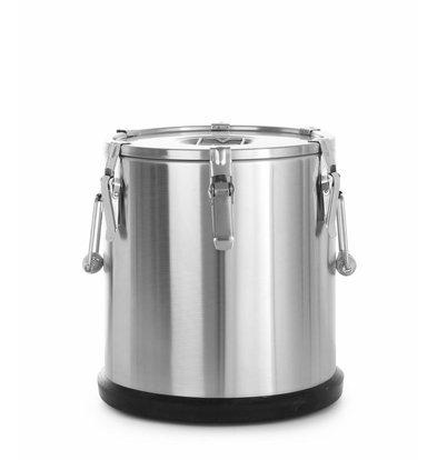 Hendi Thermo-Transportbehälter Edelstahl | Luftablassventil | 20 Liter | ø330x(h)360mm