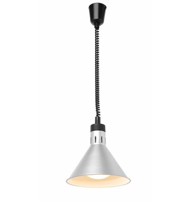 Hendi Höhenverstellbare Wärmelampe Konisch | 230V-250W | Silberfarbe | Ø175x(h)250mm